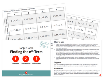 Finding the nth Term (Target Table)