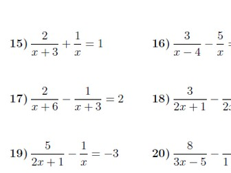 equations with algebraic fractions worksheet with solutions - Solving Equations With Fractions Worksheet