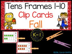 Tens Frame Clip Cards - Math Center - Numbers to 10