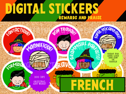 French Digital Stickers - Halloween Theme - Seesaw or Google Apps
