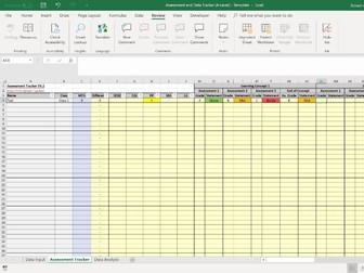 Assessment and Data Tracker/Analysis Spreadsheet - A-Level