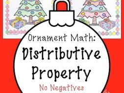 Christmas math Surprise - Distributive Property No Negatives Coloring Page