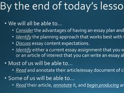 Essay Planning Presentation and Worksheet