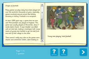 History of Football Interactive Information Book and Questions - Reading Level C - KS1
