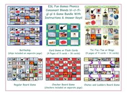 Phonics Consonant Blends bl-cl-fl-gl-pl 6 Game Bundle
