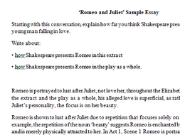 romeo and juliet love essay and question by sinead teaching  activity