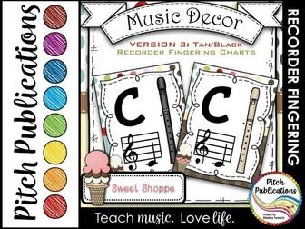 Recorder Fingering Chart Posters v2 - Music Decor SWEET SHOPPE