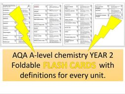 New AQA A-level Chemistry foldable FLASH CARDS of definitions for ALL year 2 topics