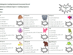 Student Assessment Record Sheet for 'Counting and Numeral Identification Homework Cards'