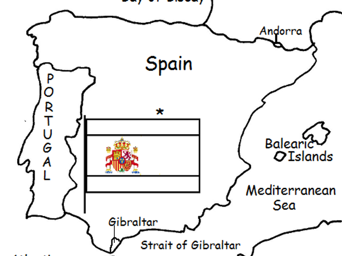 photo regarding Printable Map of Spain identify SPAIN - Printable Handout with Map and Flag