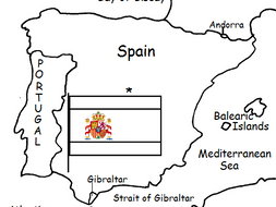 Printable Map Of Spain.Spain Printable Handout With Map And Flag
