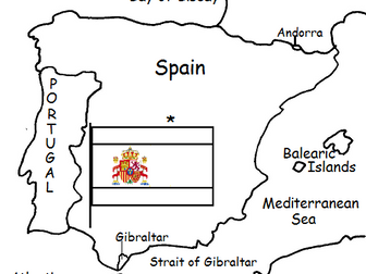 SPAIN - Printable Handout with Map and Flag