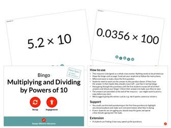 Multiplying and Dividing by Powers of 10 (Bingo)
