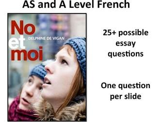 No et Moi- a list of 25+ possible essay questions