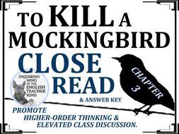 To Kill a Mockingbird Close Reading Worksheet - Chapter 3
