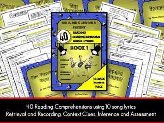 40 Lyric Reading Comprehensions Book 1 - Mr A, Mr C and Mr D Present
