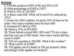 Percentage Cross Number