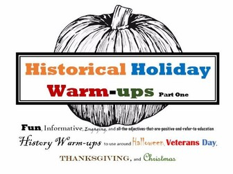 Holiday Warmups Part 1: Halloween, Veterans Day, Thanksgiving, and Christmas