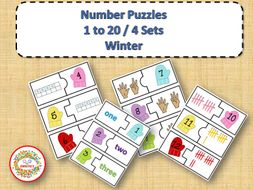 Number Puzzles 1 to 20 - Winter Theme - 2 Pieces Per Puzzle