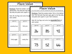 Interactive Math Notebook - Place Value - 2 digit numbers