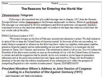 World War One -- Primary Source Readings -- U.S. and World History