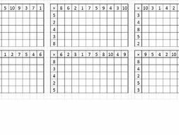 Times tables grid - random generator