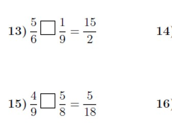 Missing operations between fractions worksheets (with