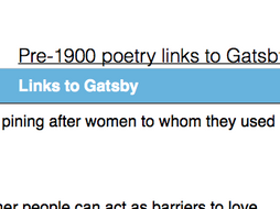 English: Pre-1900 poetry links to The Great Gatsby