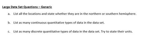 A-Level Maths: Large Data Set Questions