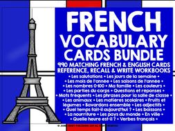 FRENCH VOCABULARY CARDS BUNDLE