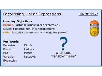 Algebra 20/31 Factorising Linear Expressions