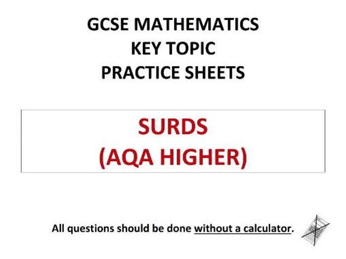 aqa homework sheet surds