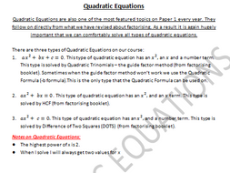 Quadratic Equations Booklet of Notes/Practice Questions for Teaching/Revising/Grinds