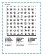 Winter in German Wordsearch for Differentiated Learning