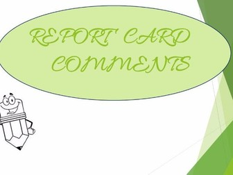 REPORT CARD COMMENTS MATH