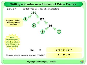 Prime Factors:  Writing a number as a product of KS4