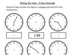 Analogue and Digital Telling the Time 2 FREE worksheets O'clock, 1/2  Past, 1/4 Past and 5 Min Inter