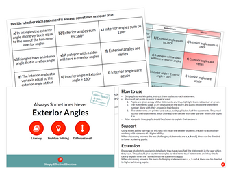 Exterior Angles (Always, Sometimes, Never)