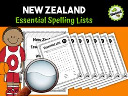 Essential Spelling List Word Search Find New Zealand NZ
