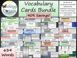 Life Science Biology Vocabulary Card Word Wall Bundle