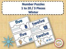 Number Puzzles 1 - 20 - Winter Theme - 3 Puzzle Pieces