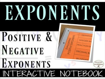Exponents - Positive and Negative Exponents Interactive Notebook Foldable