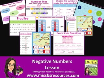 Negative Numbers - Number Line, Ordering and Differences.