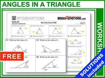 Angles in a Triangle (Strengthen)