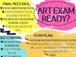 Art exam preparation poster / handout for A level or GCSE