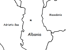 ALBANIA - Printable handout with simple map and flag