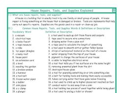 House Repairs, Tools, and Supplies Explanation-Definitions