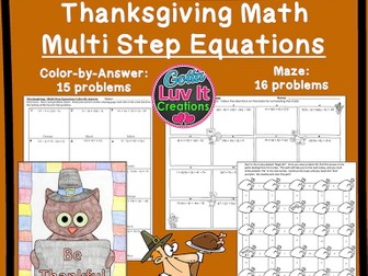 Solving Equations Thanksgiving Turkey Math - Multi Step Equations Maze & Color by Number Bundle