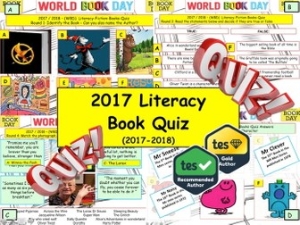 2017 - Literacy Book Quiz  - 8 rounds and over 47 Questions. World Book Day. End of term Quiz.
