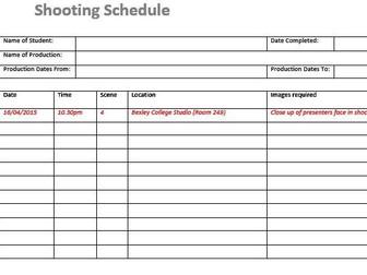 Shooting Schedule (Film & TV/Media Students)